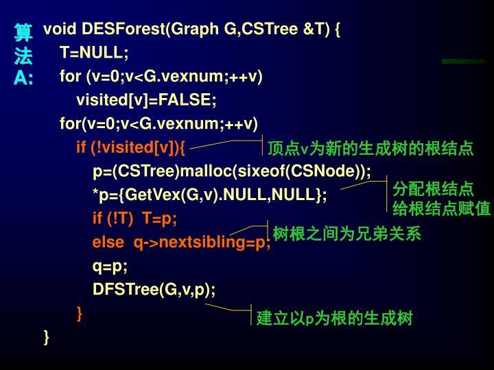 void DESForest(Graph G,CSTree &T) {
