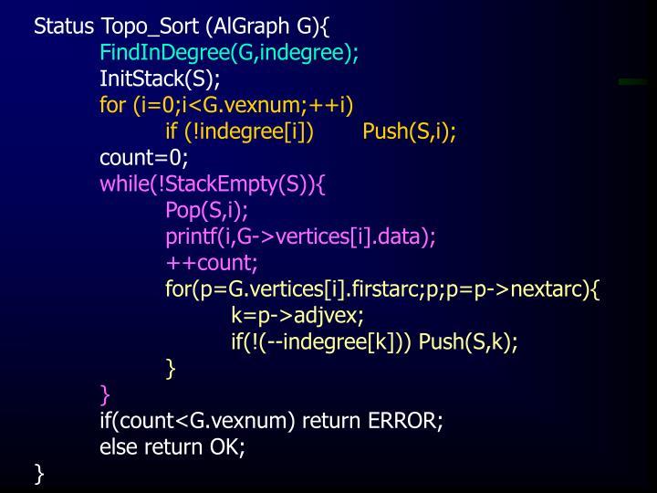 Status Topo_Sort (AlGraph G){