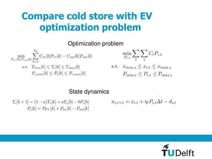 Compare cold store with EV optimization problem