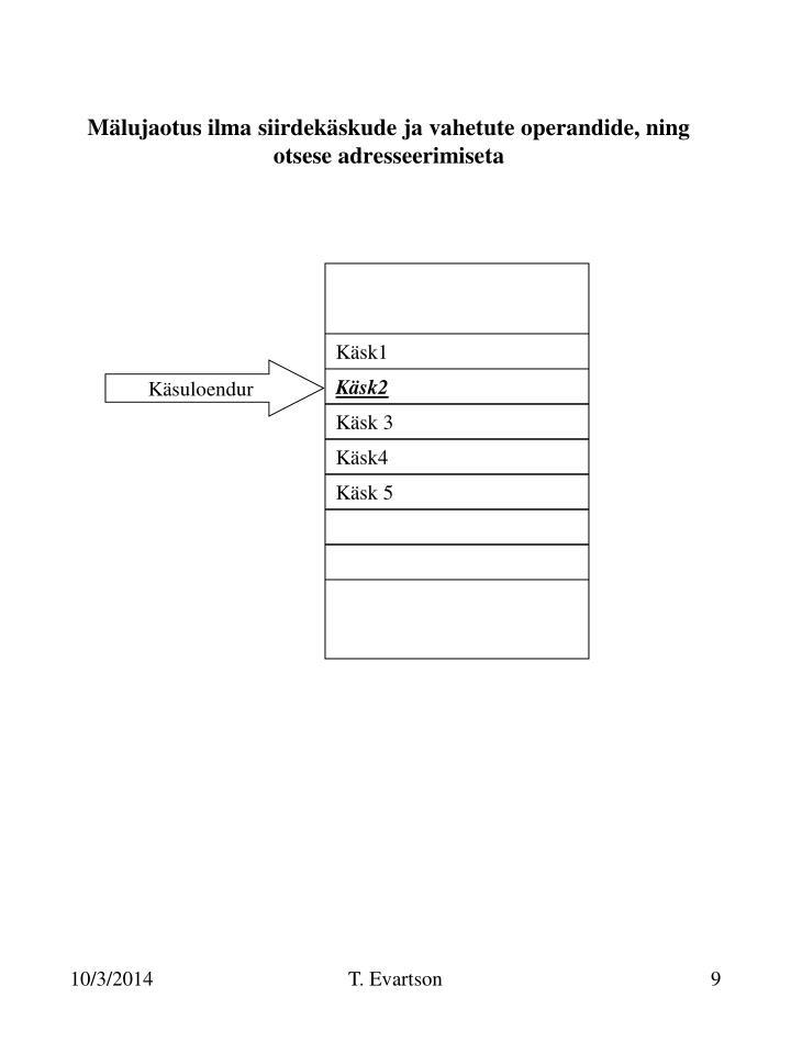 Mälujaotus ilma siirdekäskude ja vahetute operandide, ning otsese adresseerimiseta
