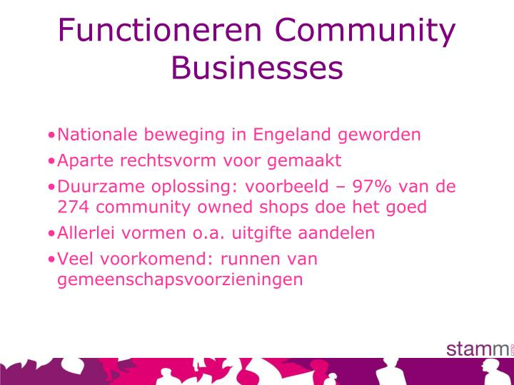 Functioneren Community Businesses