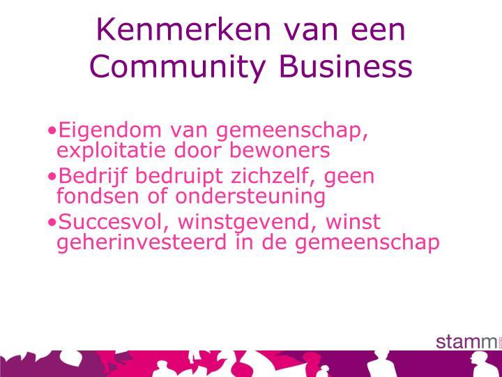 Kenmerken van een Community Business