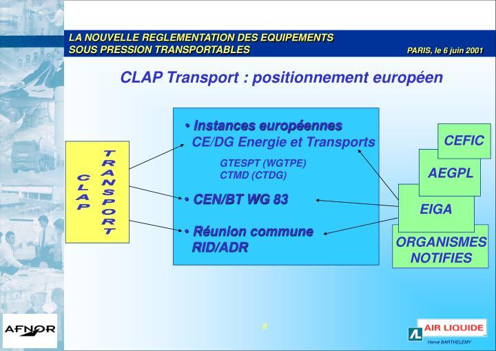 CLAP Transport : positionnement européen