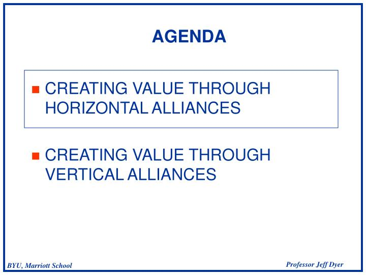 CREATING VALUE THROUGH HORIZONTAL ALLIANCES