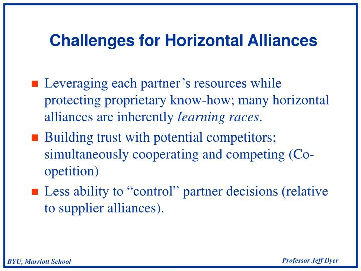 Leveraging each partner's resources while protecting proprietary know-how; many horizontal alliances are inherently