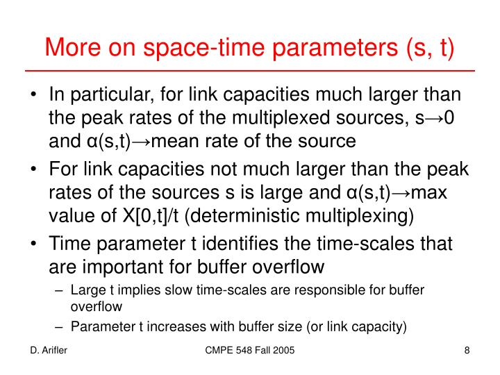 More on space-time parameters (s, t)