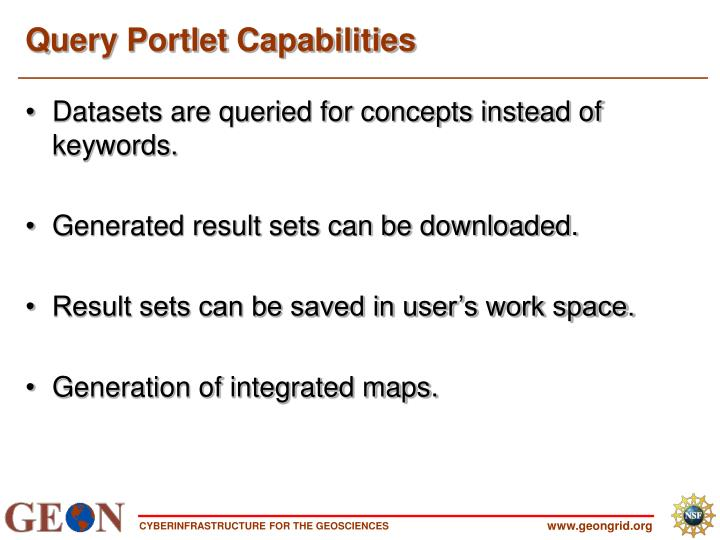 Query Portlet Capabilities