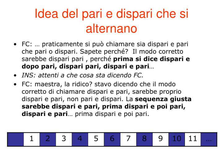 Idea del pari e dispari che si alternano