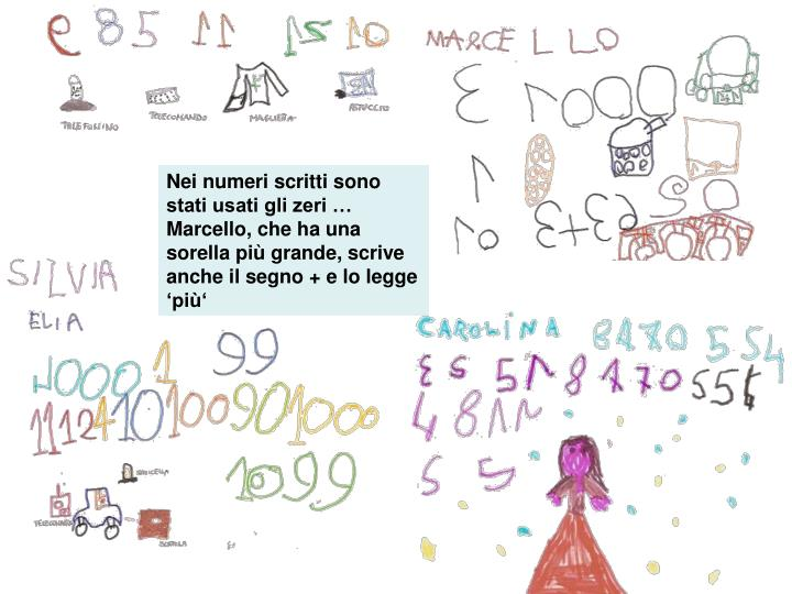 Nei numeri scritti sono stati usati gli zeri … Marcello, che ha una sorella più grande, scrive anche il segno + e lo legge 'più'