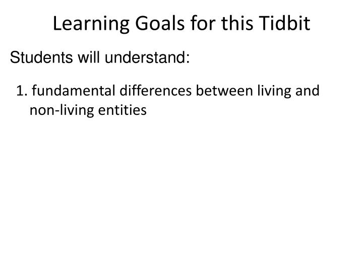 Learning Goals for this Tidbit