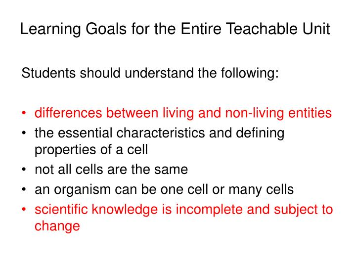 Learning Goals for the Entire Teachable Unit