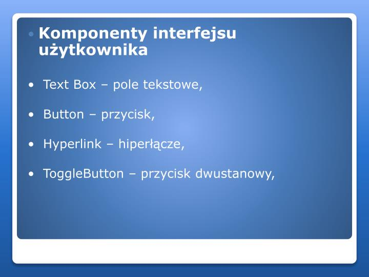 Komponenty interfejsu użytkownika