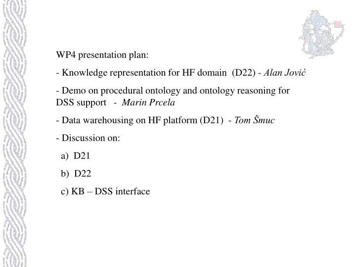 WP4 presentation plan: