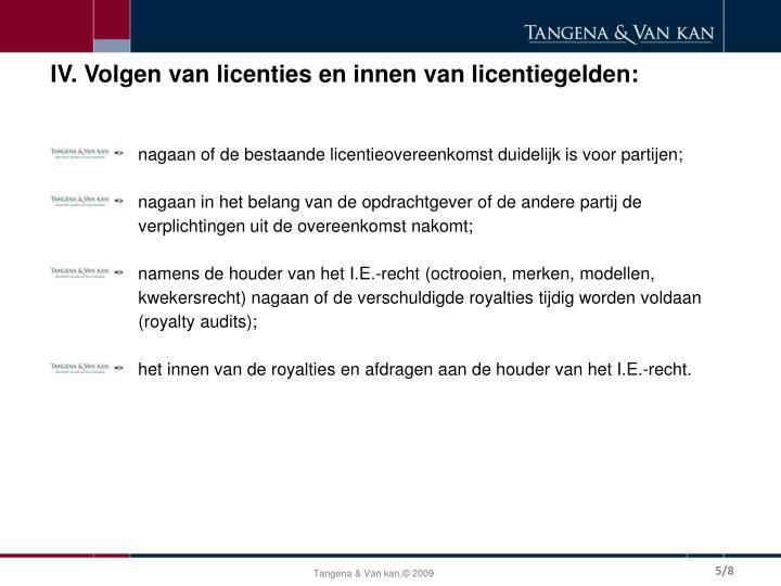 IV. Volgen van licenties en innen van licentiegelden: