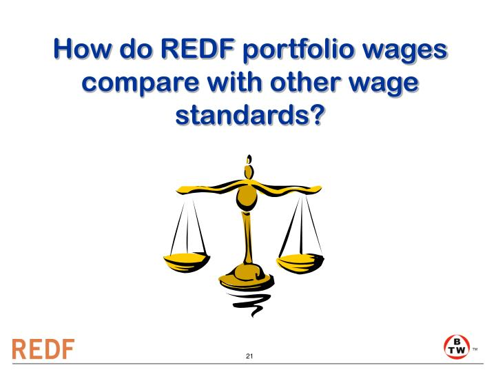 How do REDF portfolio wages compare with other wage standards?