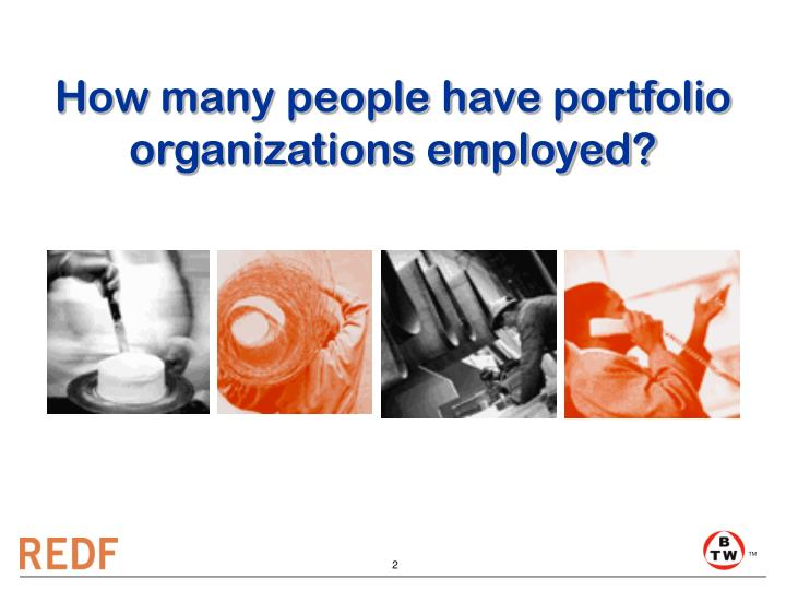 How many people have portfolio organizations employed