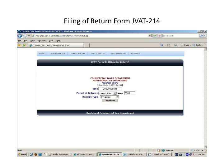Filing of Return Form JVAT-214
