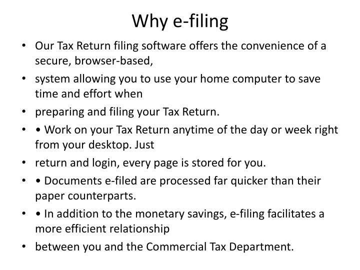 Why e-filing
