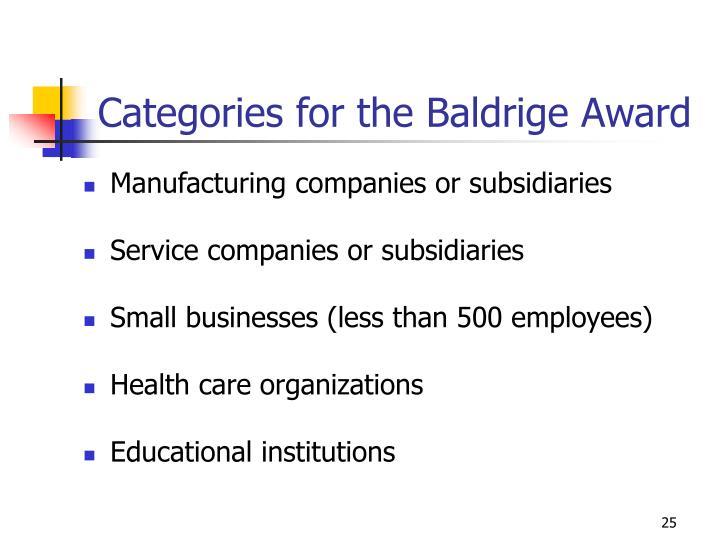Categories for the Baldrige Award