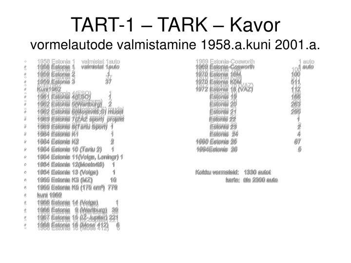 TART-1 – TARK – Kavor