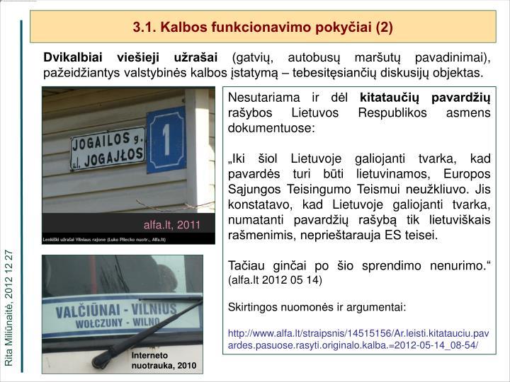 3.1. Kalbos funkcionavimo pokyčiai (2)