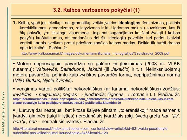 3.2. Kalbos vartosenos pokyčiai (1)