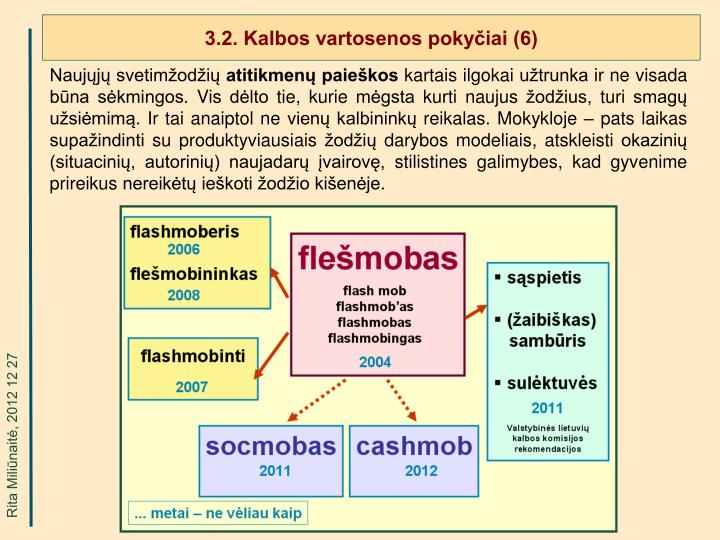3.2. Kalbos vartosenos pokyčiai (6)