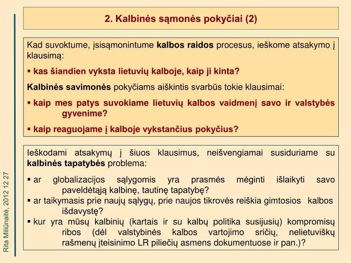 2. Kalbinės sąmonės pokyčiai (2)