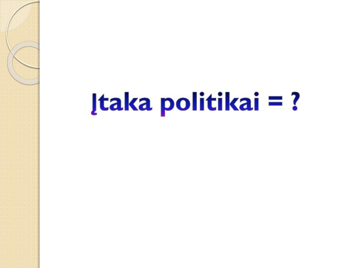 Įtaka politikai = ?