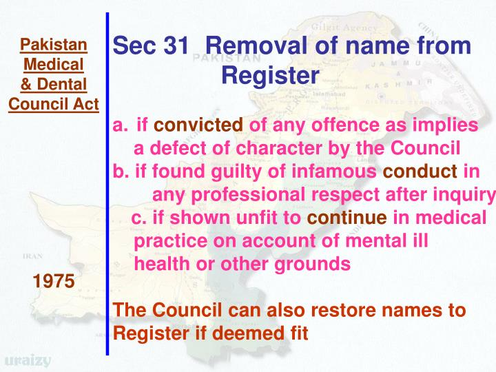 Sec 31  Removal of name from