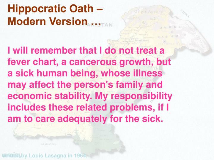 Hippocratic Oath –
