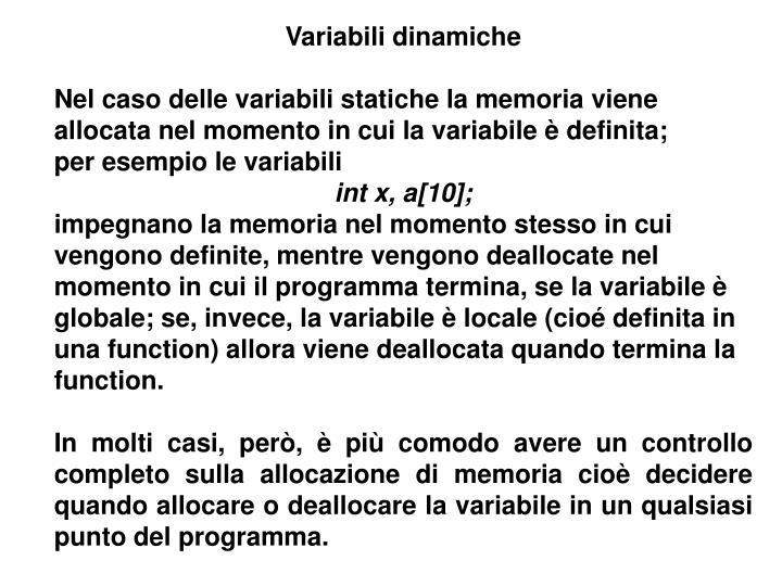 Variabili dinamiche