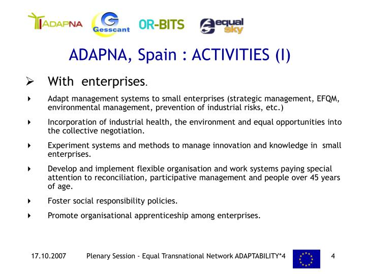 ADAPNA, Spain : ACTIVITIES (I)