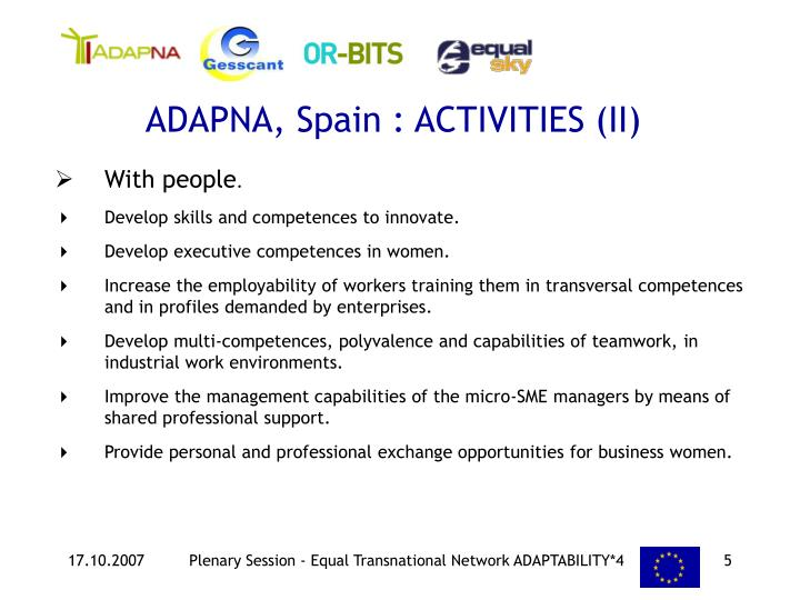 ADAPNA, Spain : ACTIVITIES (II)