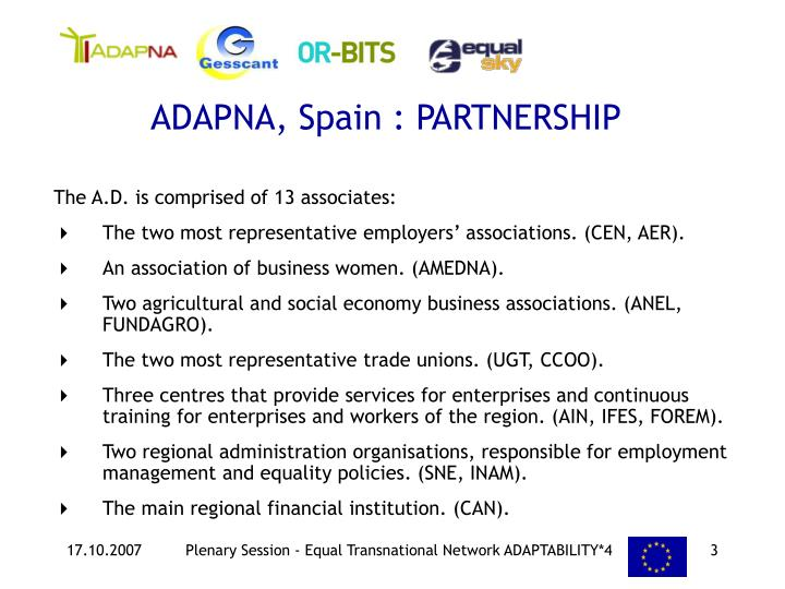 ADAPNA, Spain : PARTNERSHIP