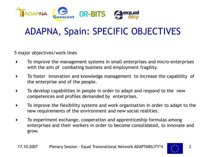 ADAPNA, Spain: SPECIFIC OBJECTIVES