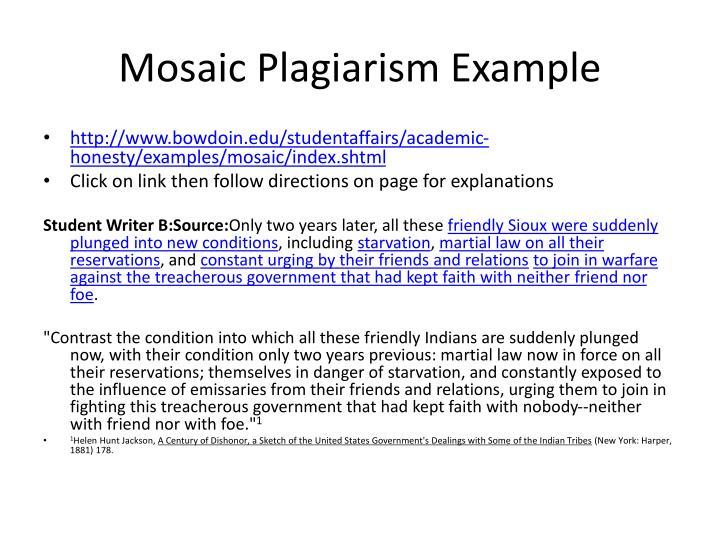 Mosaic Plagiarism Example