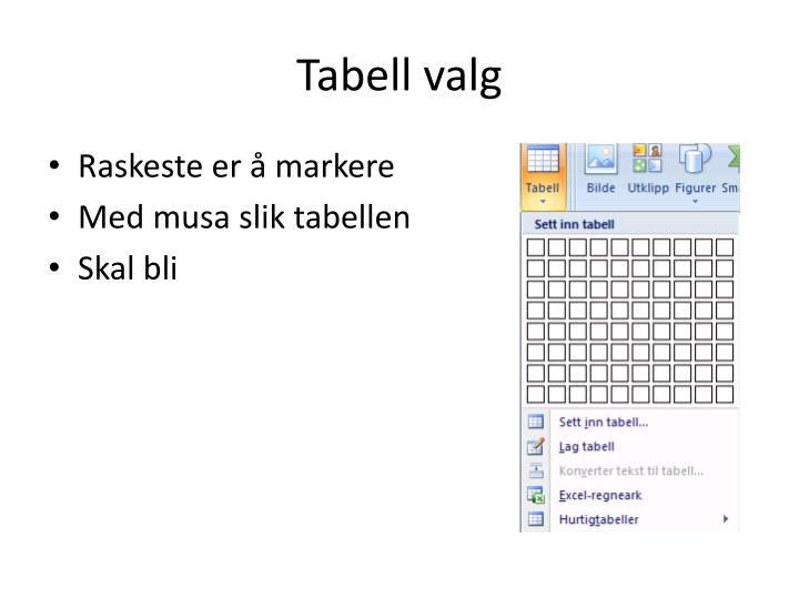 Tabell valg