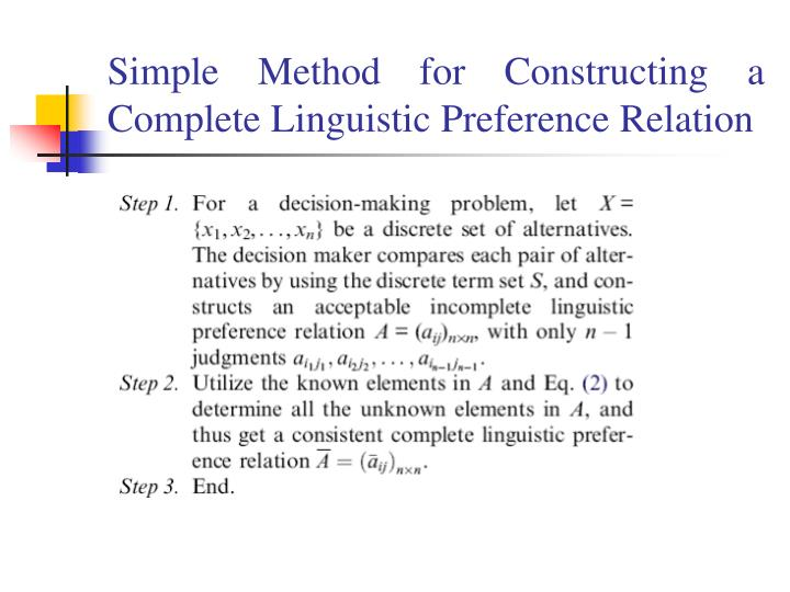 Simple Method for Constructing a Complete Linguistic Preference Relation