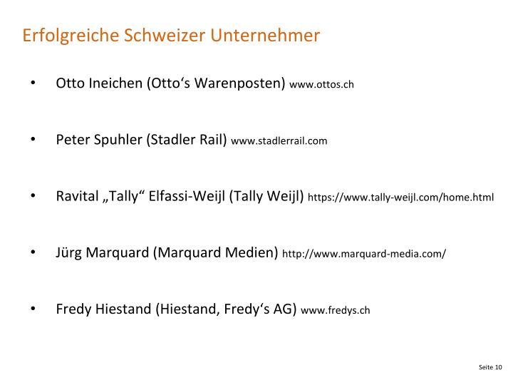 Erfolgreiche Schweizer Unternehmer
