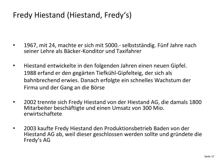 Fredy Hiestand (Hiestand, Fredy's)