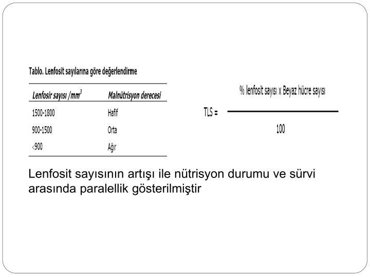 Lenfosit sayısının artışı ile nütrisyon durumu ve sürvi arasında paralellik gösterilmiştir
