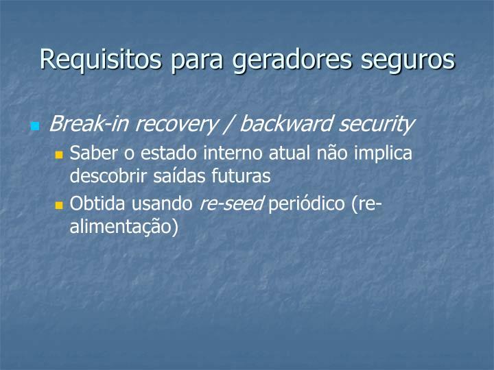 Requisitos para geradores seguros