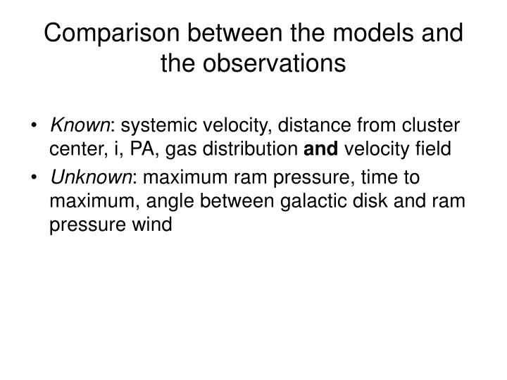 Comparison between the models and the observations