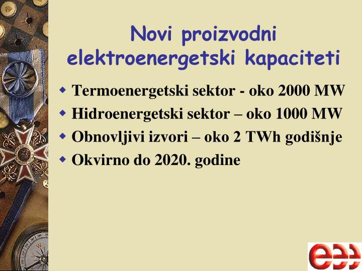 Novi proizvodni elektroenergetski kapaciteti