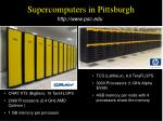 supercomputers in pittsburgh