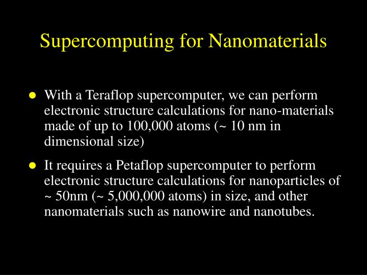 Supercomputing for Nanomaterials