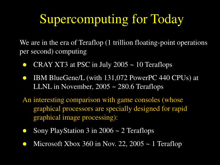 Supercomputing for Today