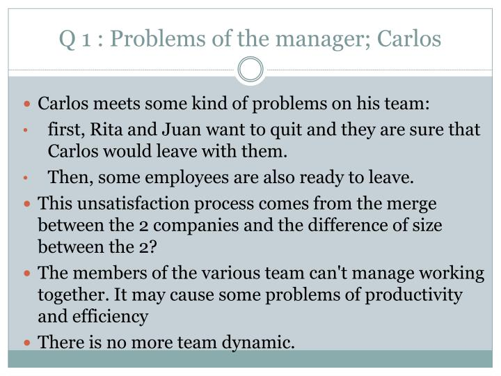 Q 1 problems of the manager carlos