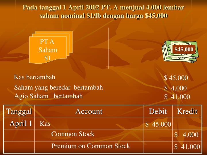 Pada tanggal 1 April 2002 PT. A menjual 4.000 lembar saham nominal $1/lb dengan harga $45,000